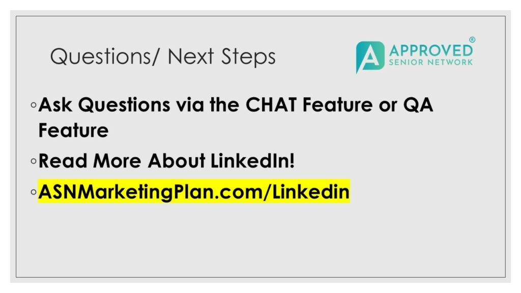 (VIDEO REPLAY) Deep Dive #4- Senior Care Marketing on LinkedIn! More Referrals and More Referral Sources 60