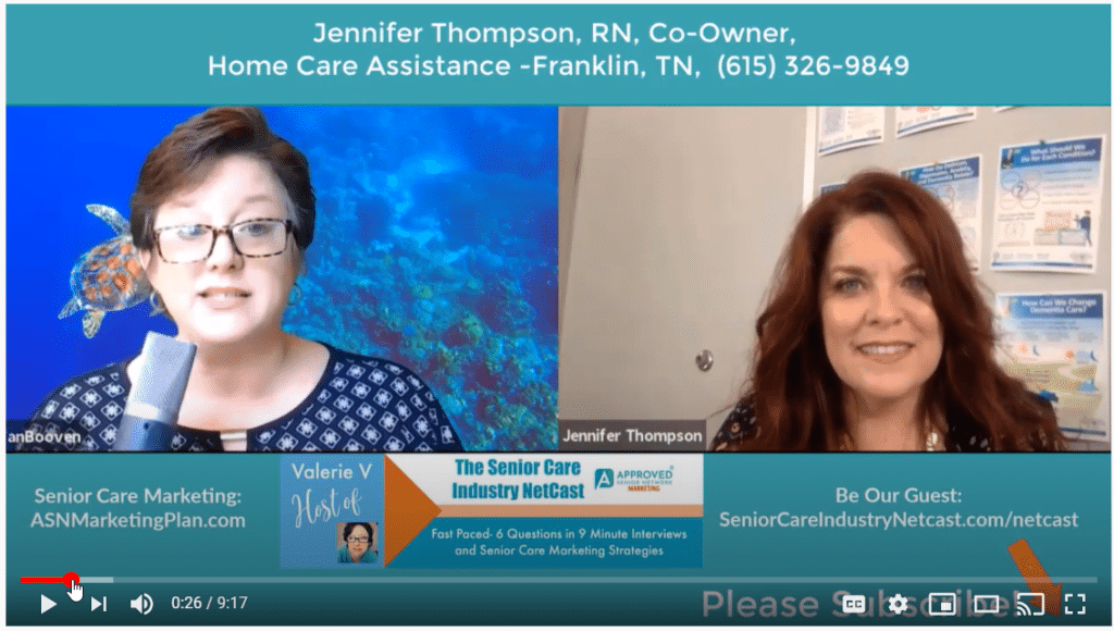 senior care industry netcast with jennifer thompson home care assistance franklin tn