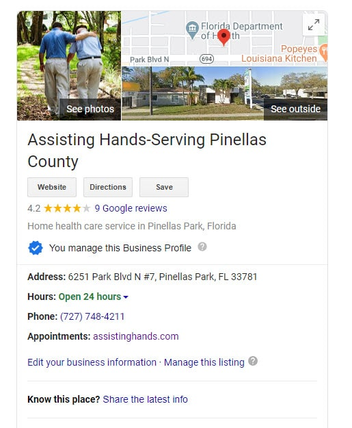 Google My Business Listing for Assisting Hands Pinellas County Florida
