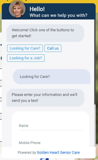 Senior Care Leads thru Website Chat
