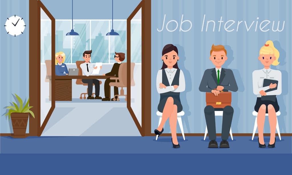 Job Interview and Recruiting. HR Agency Concept. Staff Recruitment. Human Resource. Search and Selection Candidates. Business Development Company. Working Time. Job Seeker. Vector Flat Illustration.