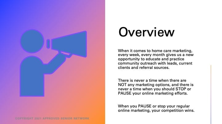 Overview of home care marketing.