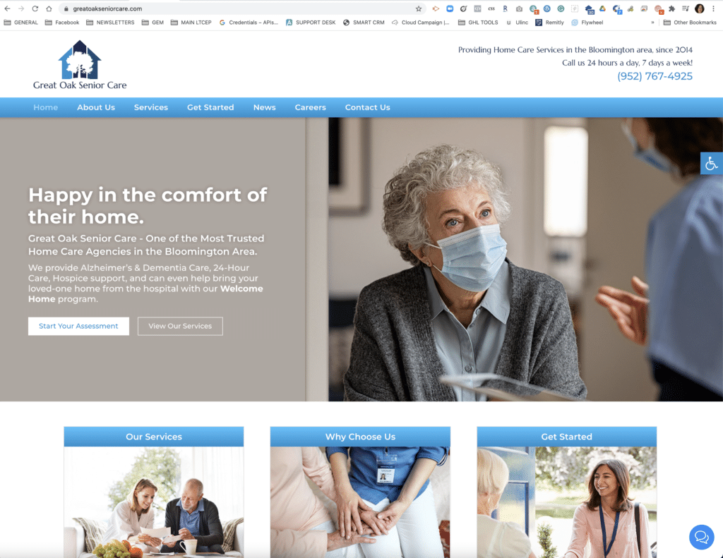 Home Care Website for Great Oak Senior Care in Bloomington MN