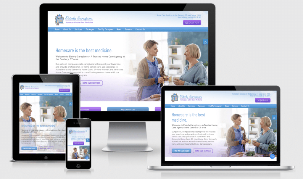 New Home Care Website Design for Elderly Caregivers LLC
