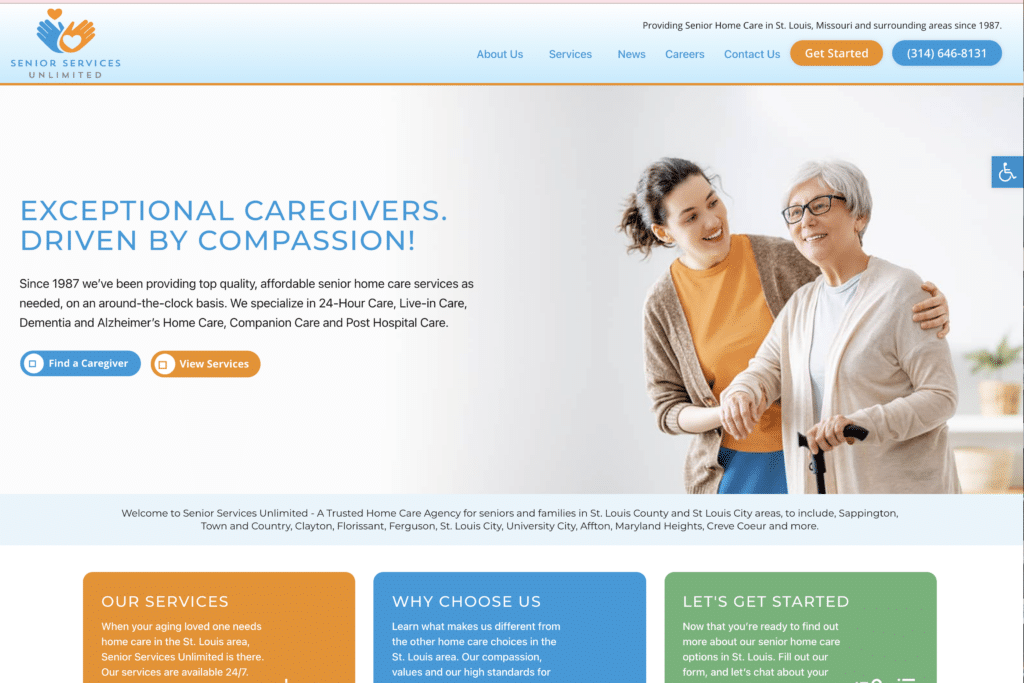 New Home Care Website! Welcome Senior Services Unlimited St. Louis 6